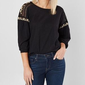 Coco + Jaimeson Mesh Embroidered Shoulder Top